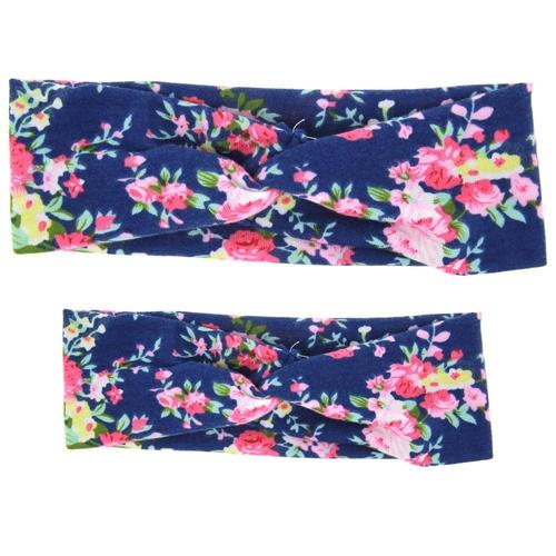 2pcs Parent-child Mother Baby Girl Kids Headband Set Hair Band Bow Boho Floral Flower Accessories-inSowni