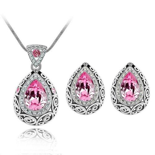 2pcs Women Drop Crystal Necklace Earrings Wedding Party Pink Blue Jewelry Sets Long Chain-inSowni