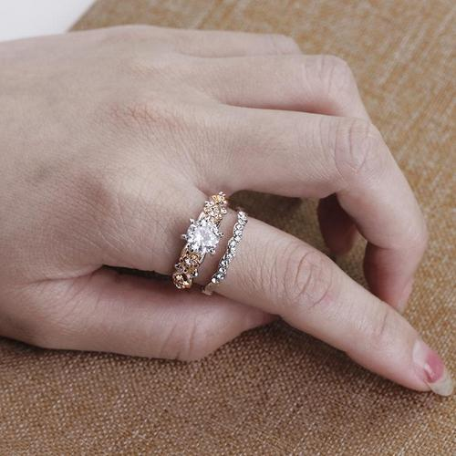 2pcs/Set Men/Women Couple Rings Size 6/7/8/9/10/11 Alloy Plated Rhinestone Crystal Band Rings Wedding Jewelry Finger Ring Fashion Popular Lover Valentine's Day Gift-Women Rings-inSowni