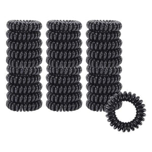 30 Pack Small Thin Black Stretchy Plastic Spiral Coil Telephone Cord Wire No Crease Hair Ties Scrunchies Twist Ponytail Holders-Hair Ties-inSowni