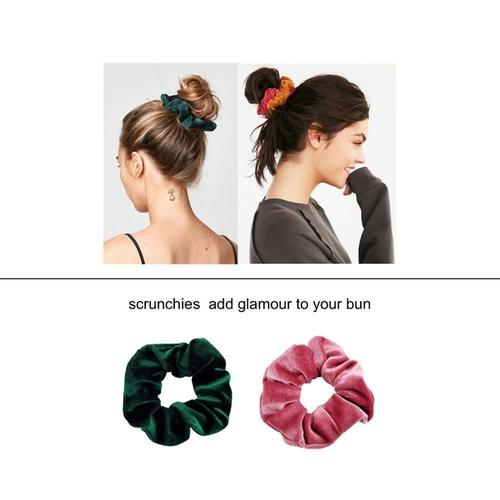 30 Pack Soft Thick Shiny Scrunchies for Hair Bobbie Ties Cotton Velvet Scrunchy Hair Elastic Band Ponytail Holder Bows-Hair Ties-inSowni