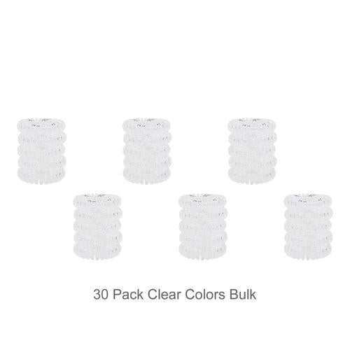 30 Pack Wholesale Small Clear Transparent Elastic Spiral Coil Telephone Cord Hair Ties Scrunchies Hair Rings Bands Accessories-Hair Ties-inSowni