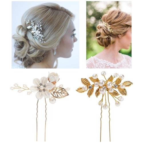 38 Pack Women Wedding Bridal Bridesmaid Hair Pieces Clips Side Combs Bobby Pins Barrettes Vines Party Decorative Headpiece Set-Wedding Bridal Hair Pins Combs Clips Set-inSowni