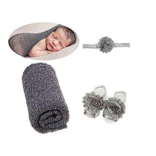 3PCS/Set Baby Girl Boy Newborn Blanket Props Wrap Swaddle With Flower Headband & Barefoot Sandals-inSowni