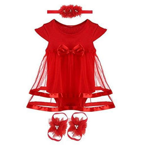 3pcs/Set Newborn Infant Baby Girl Bodysuit With Headband & Foot Flower accessories-inSowni