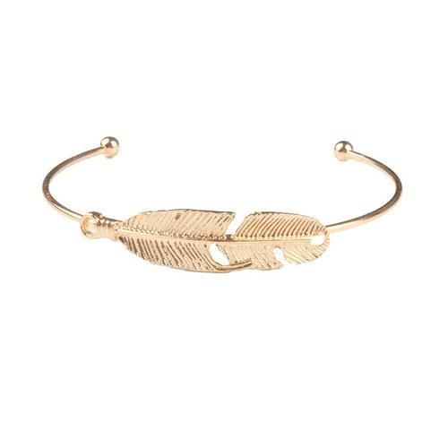 4pcs/set Women Alloy Gold Letter Love Feather Antlers Open Bracelet Bangles Wristband Cuff-Women Bracelet-inSowni