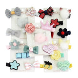 5 PCS/ Set/Pack Bow Flower Star Fur Pompom Ball with Covered Hair Clips Pins Barrettes for Baby Girl-inSowni