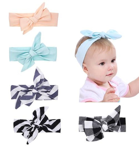 5PCS/Lot Self Tie Plaids Solid Checks Bunny Ears Headband DIY Hair Bands Bow Pack Kids Toddlers-inSowni