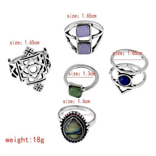 5pcs/Set Women Girls Ladies Retro Metal Silver Punk Knuckle Rings Vintage Jewelry Finger Ring Sets Fashion Popular Gift-Women Rings-inSowni