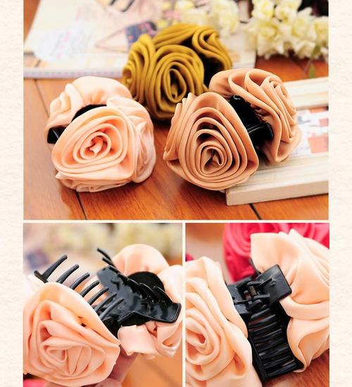 6 Pack Large Rose Flower Octopus Plastic Hair Claw Clips Clutcher Crab Jaw Barrettes Grips Clamps Clasps Pin Buns Accessories-Hair Claws-inSowni