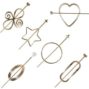 6 Pack Vintage Minimalist Decorative Metal Gold Hair Sticks Hairpins Shawl Pins Long Forks Chopsticks Clips Barrettes Buns Holder Hair Styles Circle Star Hollow Accessories-Women Hair Clips-inSowni
