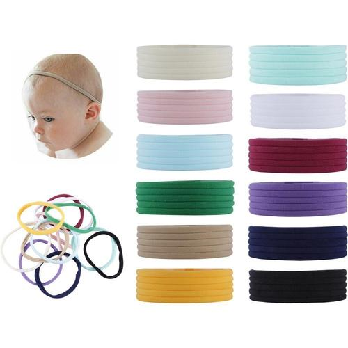 60 Pack Super Soft Stretchy Elastic Nylon Headbands Bow Nude Hairband Slim Turban Headwrap Hair Ties for Newborn Baby Girls-Headbands-inSowni