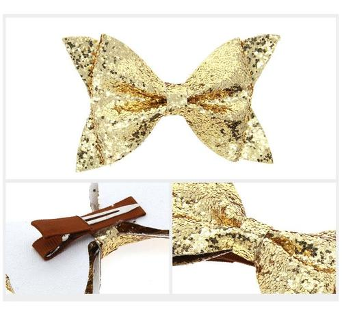 "6pcs/Lot 4"" Sequin Glitter Bow Hair Clips Hairpins for Baby Girl Kids Children Handmade Barrettes-inSowni"