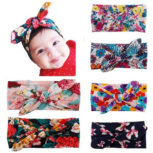 6PCS/Lot Boho Bohemian Print Bunny Ears Headband Bulk for Baby Girl Kids Toddlers Hair Bands Gift-inSowni