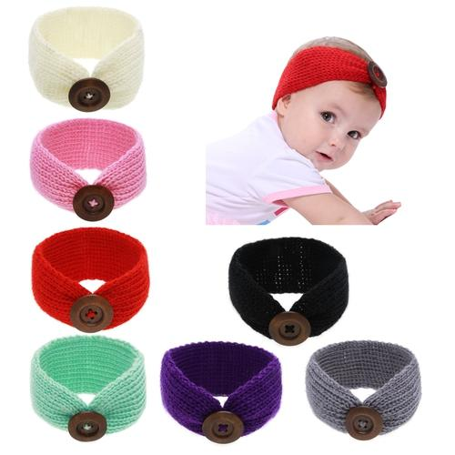 cb37a8c9a 7PCS/Lot Crochet Knitted Bands with Button Bunny Ears Headband Hair Bands  Bow Pack Kids Toddlers