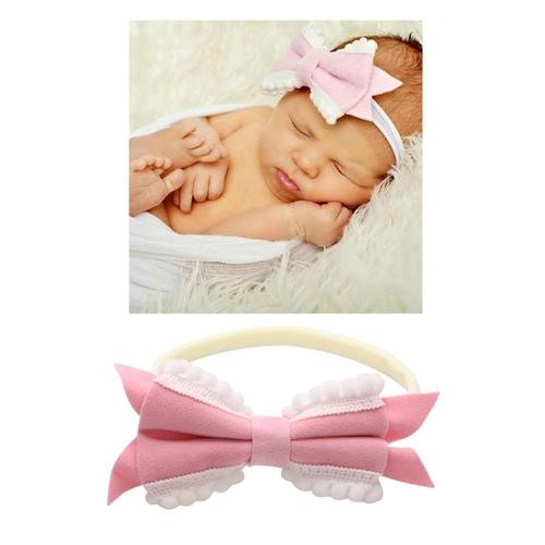 8 PACK Elastic Stretchy Bowknot Nylon Headbands Hairband Bows Wraps Turban Hair Accessories for Kids Toddler Baby Girl Bulk-Headbands-inSowni