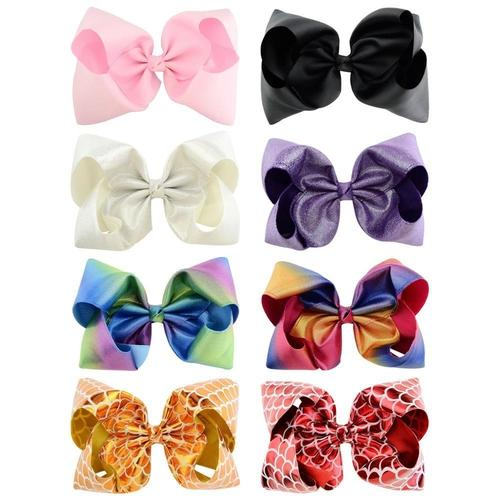 8 Pack Grosgrain Ribbon Glitter 8 Inch Big Large Bow Hair Clips Handmade Barrettes Metal Alligator Snap Pins Hair Accessories-Hair Clips-inSowni