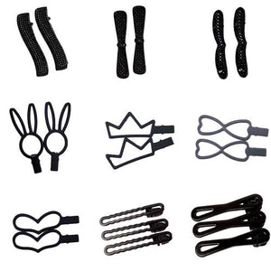 8 Pack Kids Toddler Baby Girls Black Hair Clips Alligator Grip Snap Pin Barrettes Small Medium Large Fringe Bangs Hair Holder-Women Hair Clips-inSowni