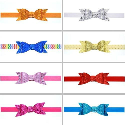 "8 PCS/Lot 4"" Glitter Sequin Bow Headbands Hair Bands Baby Girl Toddlers Kids Children Accessories-inSowni"
