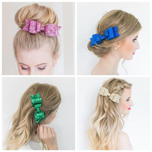 "8pcs/Lot 4"" Sequin Glitter Bow Hair Clips Hairpins for Baby Girl Handmade Barrettes Hair Accessories-inSowni"
