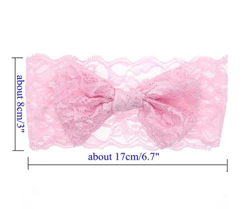 8pcs//Lot Baby Girl Solid Lace Bow Bunny Ears Headband Hair Bands Bow Accessories