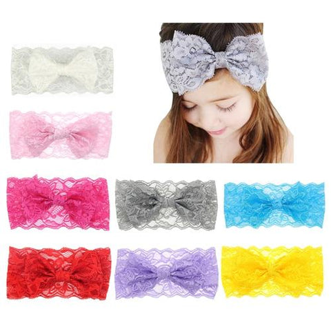 8pcs/Lot Baby Girl Solid Lace Bow Bunny Ears Headband Hair Bands Bow Accessories Pack Kids Infant-inSowni