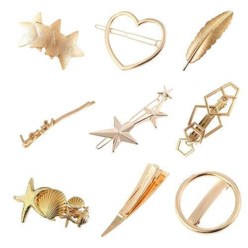 9 Pack Gold Vintage Retro Geometric Minimalist Hair Clip Snap Barrette Bobby Pins Alligator Hairclips Metal Hair Accessories-Women Hair Clips-inSowni