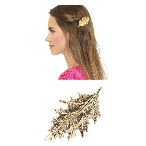 9 Pack Gold Vintage Retro Minimalist Cute Feather Branch Leaf Flower Metal Hair Clip Snap Barrette Claw Clamp Bobby Pin Hairclip-Hair Clips-inSowni