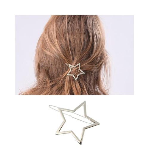 9 Pack Korean Silver Vintage Retro Geometric Minimalist Star Heart Circle Branch Hair Clip Snap Barrette Pins Wedding Party Bulk-Hair Clips-inSowni
