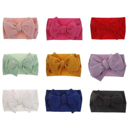 9 PACK Soft Nylon Wide Large Bowknot Knotted Headbands Hairband Bows Turban Headwrap Hair Accessories for Kids Infant Baby Girl-Headbands-inSowni