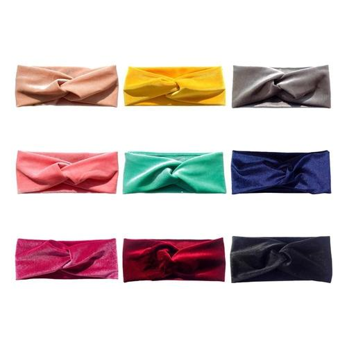 9 PACK Velvet Elastic Stretchy Wide Cross Headbands Hairband Bows Turban Wraps Holder Accessories for Kids Infant Baby Girl Bulk-Headbands-inSowni