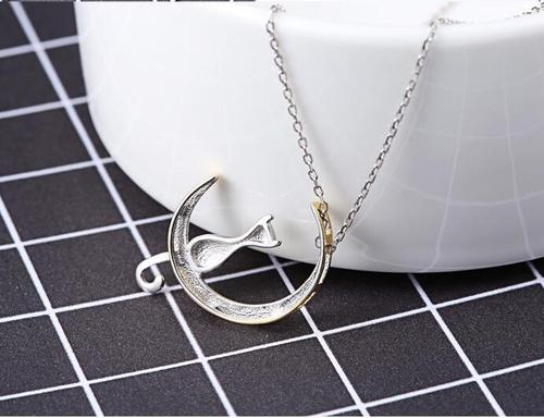 925 Sterling Silver Moon Cat Necklace Kitten Pendant Sterling Animal Clavicle Chain Jewelry Gift-Women Necklaces-inSowni
