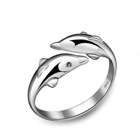 Adjustable Women Girls Ladies 925 Sterling Silver Dolphin Open Rings Jewelry Wedding Finger Ring Fashion Popular Gift-Women Rings-inSowni