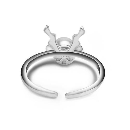 Adjustable Women Girls Ladies Silver Pearl Deer Antler Open Rings Female Jewelry Finger Ring Fashion Popular Gift-Women Rings-inSowni