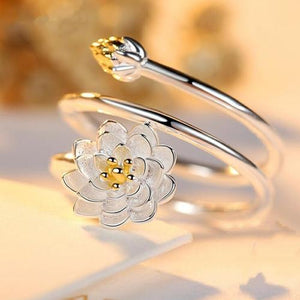 Adjustable Women Girls Ladies Sterling Silver Lotus Flower Rings Jewelry Wedding Finger Ring Fashion Popular Gift-Women Rings-inSowni
