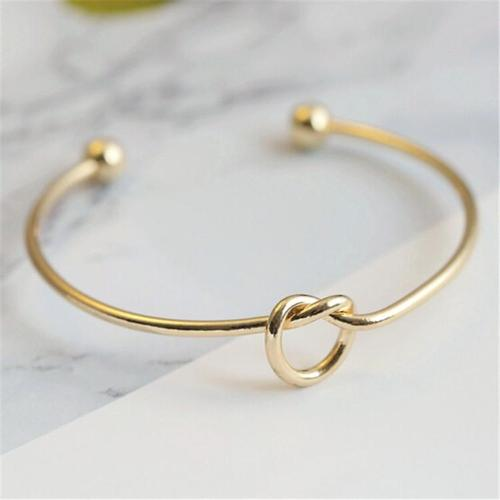 Adjustable Women Girls Metal DIY Knot Open Bracelet Silver Gold Bangles Jewelry Wristband Cuff-Women Bracelet-inSowni