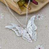Alloy Butterfly Vintage Pendant Chain Necklace For Lady Women Girls Kids Sweater Chain Jewelry Gift-Women Necklaces-inSowni
