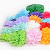 Baby Girl Toddler Infant Children Soft Big Chiffon Flower Bows Crochet Knitted Elastic Headband Hairband Headpiece Accessories-Headbands-inSowni