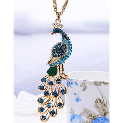 Boho Women Peacock Crystal Collar Statement Chain Sweater Chain Pendant Vintage Necklace Jewelry-Women Necklaces-inSowni