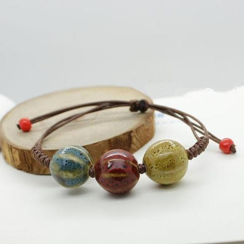 Ceramic Vintage Bracelet Girls Men Handmade Jewelry Adjustable Braided Bangles Wristband Cuff-Women Bracelet-inSowni