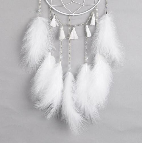 DIY Feather Metal Dream Catcher Wall Home Cafe Car Wind Chimes Hanging Ornament Pendant Gift-Women Necklaces-inSowni