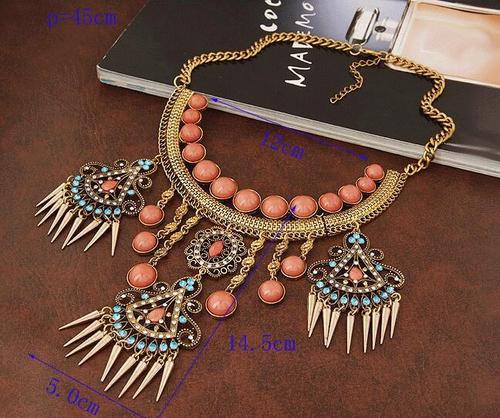 Ethnic BOHO Women Choker Chunky Tassel Necklace Bib Collar Statement Chain Sweater Pendant Gift-Women Necklaces-inSowni