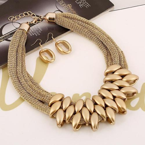 Ethnic Girls Women Alloy Gold Acrylic Necklace Earrings Vintage Jewelry Sets Long Chain Gift-Women Necklaces-inSowni