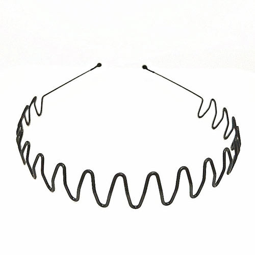 Men Plain Stretchy Elastic Thin Hard Black Metal Hair Hand Headband Hoop Holder Clasp Comb Hairgrips With Teeth Crown Tiara