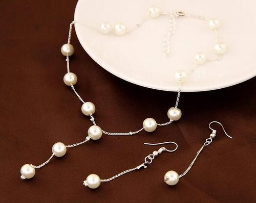 Girls Women Silver Gold Pearl Necklace Earrings Bracelets Jewelry Set Long Chain Lady Popular Gift-Women Necklaces-inSowni