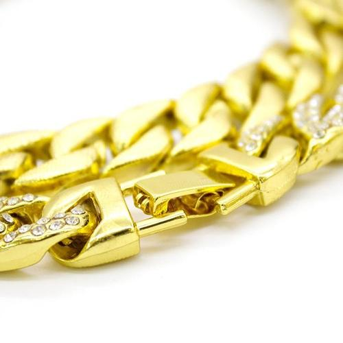 Gold Plated Chain Necklaces Bracelet for Mens Kids Boy Alloy Rhinestone Curb Cuban Jewelry Hip-Hop-Women Necklaces-inSowni