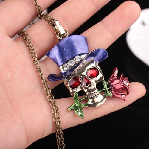 Halloween Women Men Retro Crystal Rhinestone Skull Magic Rose Flower Pendant Necklace Sweater Chain-Women Necklaces-inSowni