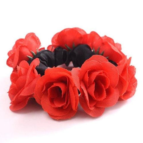Handmade Wreath Garland Flower Elastic Stretchy Hair Ties Robe Ponytail Holder Scrunchies Ring Loop for Women Wedding Bridal-flower hair ties-inSowni