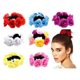 Handmade Wreath Garland Flower Elastic Stretchy Hair Ties Robe Ponytail Holder Scrunchies Ring Loop for Women Wedding Bridal