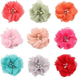 inSowni 1 Pair Chiffon Flower Rhinestone Pearl Alligator Hair Clips Barrettes Hairgrip Hair Accessories for Baby Girls Toddlers-Hair Clips-inSowni